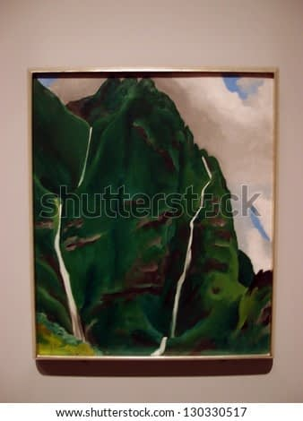 HONOLULU, HI - FEBUARY 5: Georgia O'keeffe, Waterfall - End of the Road - Iao Valley, 1939 on display at at the Honolulu Musuem of Art taken Febuary 5, 2013 Honolulu, Hawaii.
