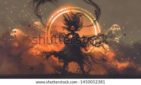 the angry wizard of evil spirits holds a magic gem cast a spell, digital art style, illustration painting