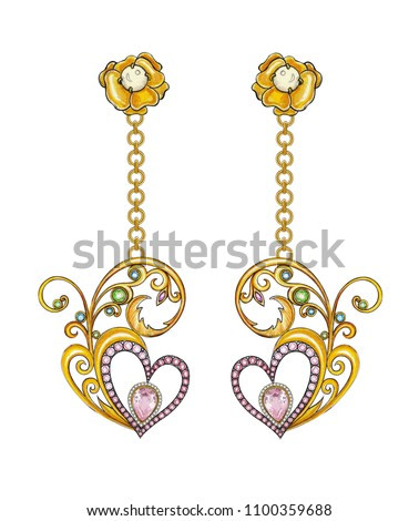Jewelry Design Art Vintage Mix heart Earrings. Hand drawing and painting on paper.