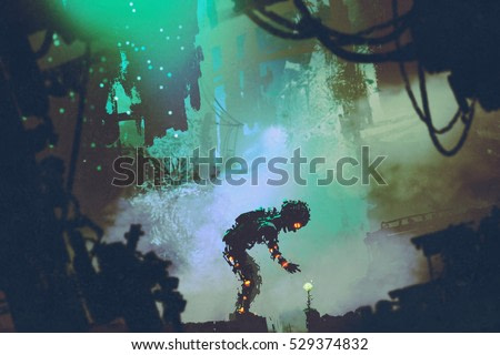 cute robot touching flower in ruined city,illustration painting