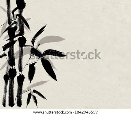 Digital drawing Chinese brush painting style illustration of bamboo shoots and leaves on left side of picture with space for text haiku poem or note on right side