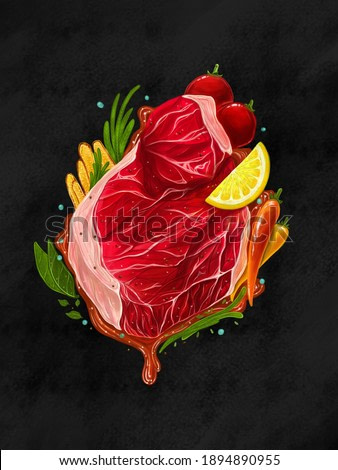 Digital painting Steak concept : Food realistic painting Steak meat and Side dishes on the dark blackground , digital art style, illustration painting