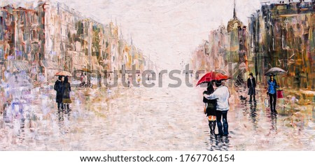 oil painting, couple under an umbrella in the rain, romance