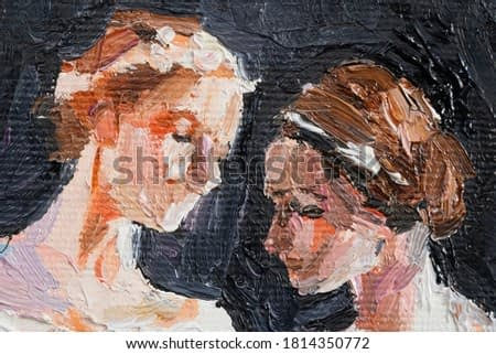 Oil painting. Portraits with two girls. Made in a classic style. The background is black.