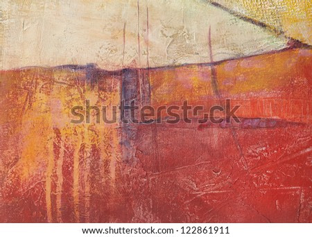 Textured abstract painting. Handpainted red grunge background.
