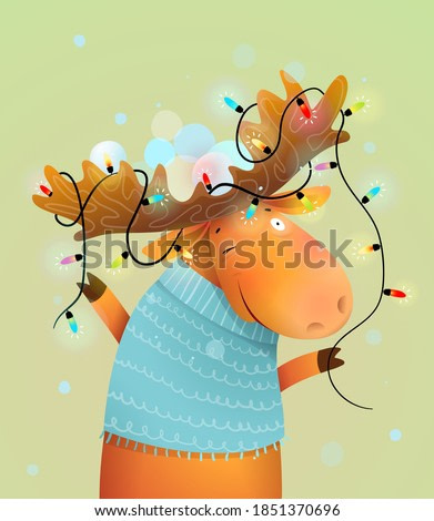 Christmas moose or reindeer with lights on antlers decorated for merry holiday. Kids and nursery winter animal illustration, vector cartoon in watercolor style.