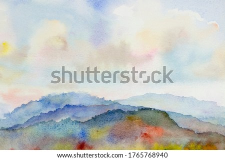 Watercolor landscape paintings colorful mountain range and sky cloud in abstract background, Painting abstract landscape spring in sky background. Hand painted semi abstract illustration in Asia.