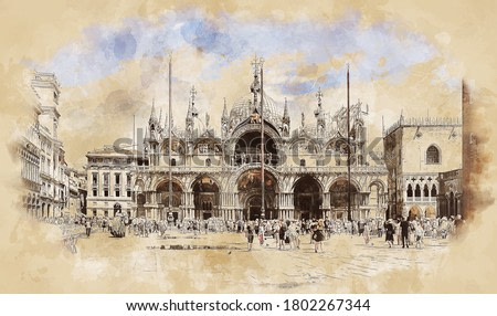 Square and Cathedral of San Marco, Doge's Palace in Venice, Ilaly. Sketch drawing