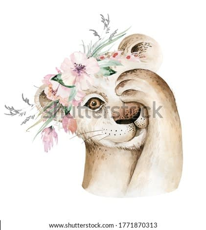 A trendy poster with a lion. Watercolor cartoon lion savanna animal illustration. Jungle savannah tropical exotic summer print.
