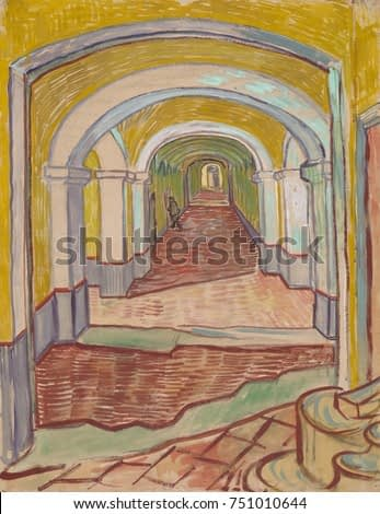 Corridor in the Asylum, by Vincent Van Gogh, 1889, Dutch Post-Impressionist painting. This mixed media work of oil color and black chalk on pink paper, used exaggerated linear perspective to expressiv