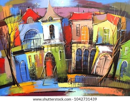 Fairytale town #3.  Photo of acrylic painting on canvas, my own artwork.