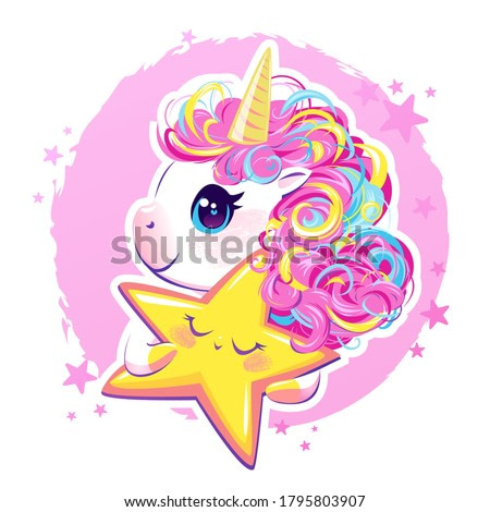 Vector illustration of a cute unicorn with bright rainbow hair. The beautiful fantasy animal and the golden sleeping star are trending.