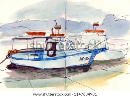 watercolor hand drawn sea boat yacht blue wave