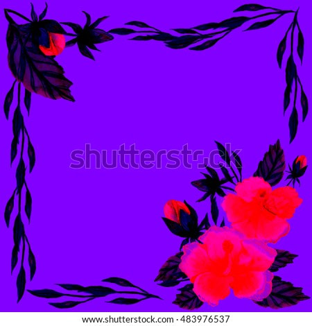 Watercolor flower abstract frame