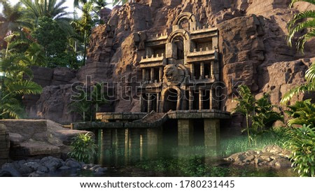 ancient temple of the jaguar in the cliff rocks, hidden in the tropical rainforest, 3D illustration, fantasy environment background concept