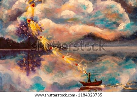 Witch with cat in boat on water background of mountains with beautiful clouds wonderland. Painting Fantastic illustration artwork fairy tale for book fine art