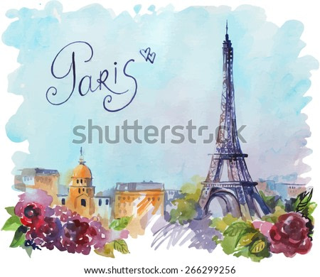 vector drawing by hand on wright paper beautiful background with Paris. Watercolor illustration with Eiffel Tower, view of the city with high and many beautiful flowers. inscription by hand.