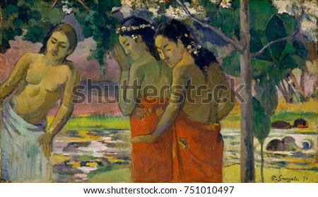 Three Tahitian Women, by Paul Gauguin, 1896, French Post-Impressionist painting, oil on canvas. The women are dressed in pareus in a tropical landscape