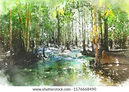 Abstract colorful tree and river lake landscape watercolor illustration painting background.