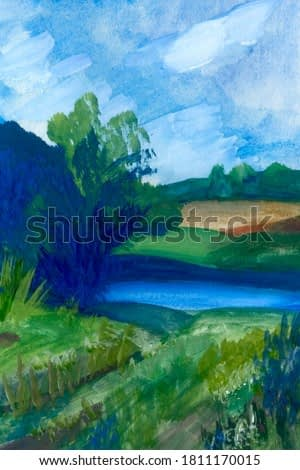 Summer landscape, oil painting with forest and river