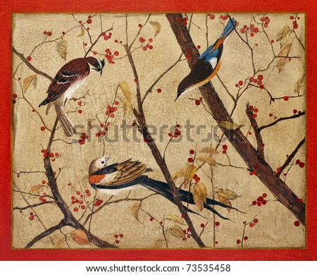 Painting. Colorful birds on branches with red berries