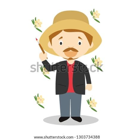 Paul Gauguin cartoon character. Vector Illustration. Kids History Collection.