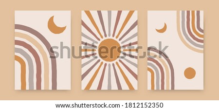Abstract sun moon rainbow posters. Contemporary backgrounds, boho covers trendy mid century style. Geometric vector wall decor.