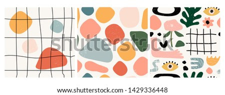 Set of three seamless patterns. Hand drawn various shapes and doodle objects. Abstract contemporary modern trendy vector illustration. Stamp texture. Every pattern is isolated