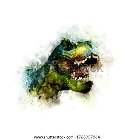 Watercolor Draw Style - Tyrannosaurus Rex with open mouth