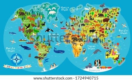 Animal Map of the World for Children and Kids. Vector Illustration.