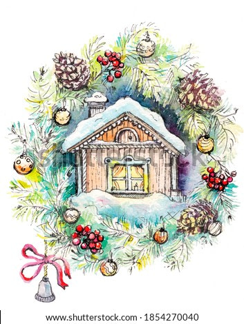 Winter house among a spruce twig with cones, Christmas toys, with a bright red bow and a bell. New year's illustration.