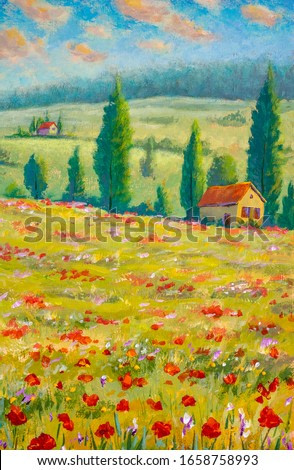 Painting Country houses on beautiful slopes in meadows. Summer sunny positive landscape fine art. Oil painting on canvas.