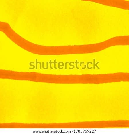 Dirty Modern Artwork. Yellow Curry Watercolor Painting. Sunny Pumpkin Stripes Dirty Art Painting. Summer Fire Color Emotional Art. Scrawl Sketch. Mustard Copper Lines