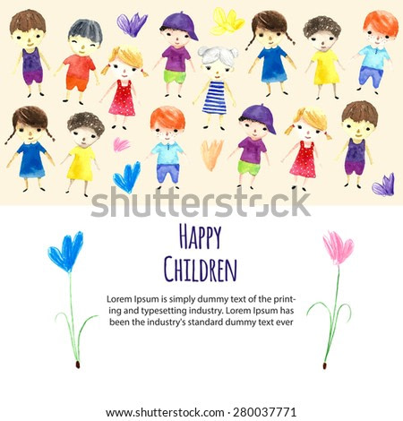 Watercolor children illustration with place for your text. Vector.
