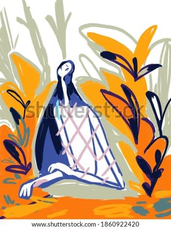 Woman in abstract nature. Expressionism painting. Modern and trendy art. Fauvism and Raoul Dufy vibe. Orange and green colors
