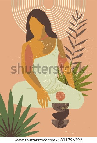 Gauguin inspired mid century modern wall art. Abstract sitting woman print. Simple no face boho exotic tropical feminine diversity hipster wall decor. Printable ISO proportions illustration
