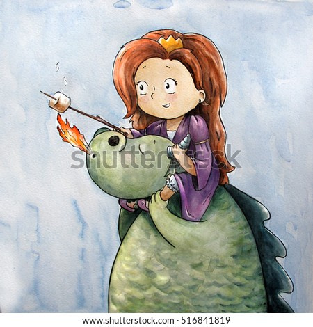 little princess with dragon roasting marshmallow. watercolor children's fairy tale illustration. perfect design for postcards, t-shirts, cups, invitations and apparel