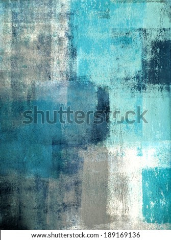 Turquoise and Grey Abstract Art Painting