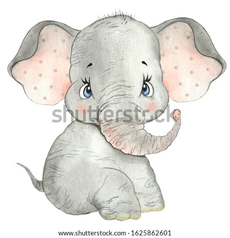 Watercolor drawing of a cute baby elephant, little elephant, cute elephant, nursery, zoo, safari, african animal, baby cards, greetings, baby show, baby animal, funny animal