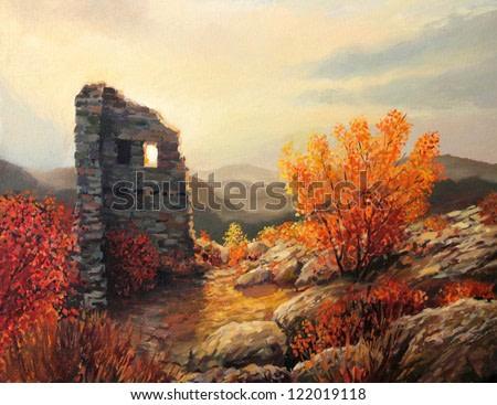 An oil painting on canvas of an old fortress ruins on a mountain top. Warm light of the sunset is in harmony with the autumn colors of the trees.