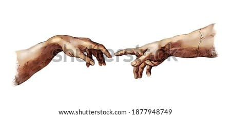 The human touch. Digital color illustration of Creation of Adam male connection concept in the style of old reinassance fresco works isolated on white background.
