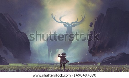 the man with a magic lantern facing the giant deer in a mysterious valley, digital art style, illustration painting