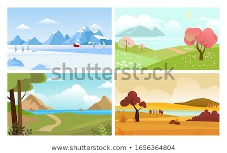 four seasons backgrounds. summer winter autumn spring nature landscape with trees leaves grass and snow mountain. vector