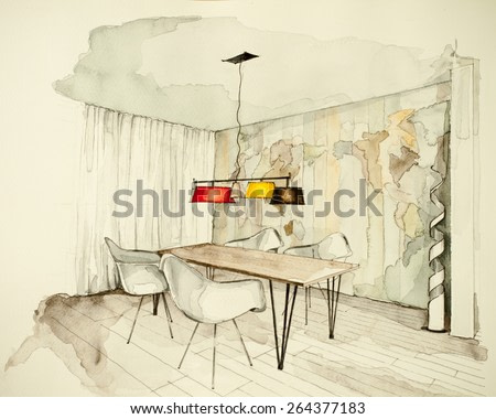 Watercolor and ink freehand sketch drawing of apartment flat dining room, symbolizing artistic custom unique boutique approach to real estate business branch and personal interior design process