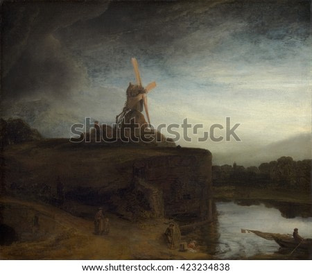 The Mill, by Rembrandt van Rijn, c. 1645-48, Dutch painting, oil on canvas. The bright sails of the blades draw the viewer's eyes to the mill, which is perched on a bulwark under a dramatic sky.