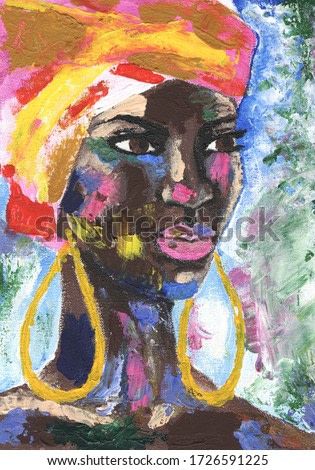 Portrait of african woman in street style hand drawn acrylic on canvas. African woman in turban portrait pop art style picture. Acrylic beauty african woman. Painting fashion illustration.