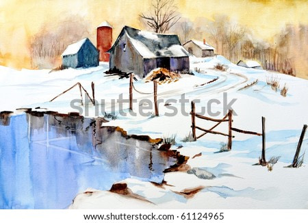 watercolor painting of winter scene with barn and pond