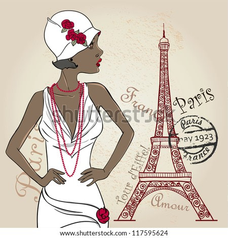 Vector Retro party card. Glamour African American Lady