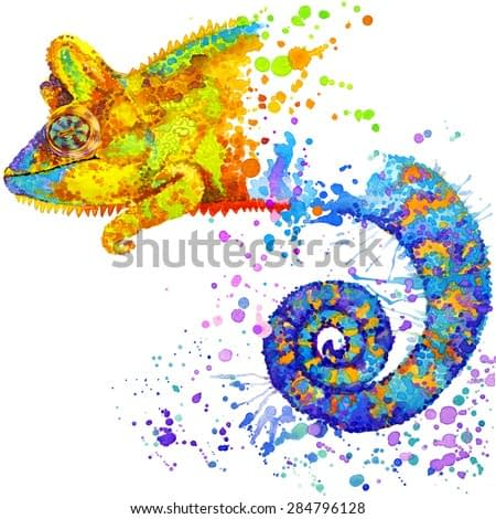 chameleon lizard. watercolor illustration. exotic nature. wild animal. tropical wildlife.