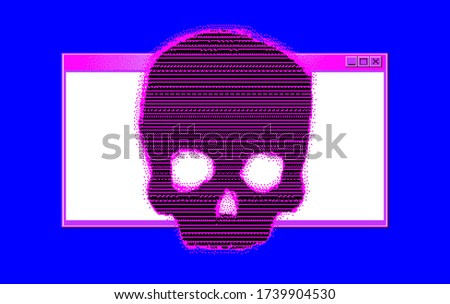 Alert notification on computer in retro pixel art style. Malware caution concept, fraud internet error, insecure risk dangerous connection, online scam, virus ransomware note.